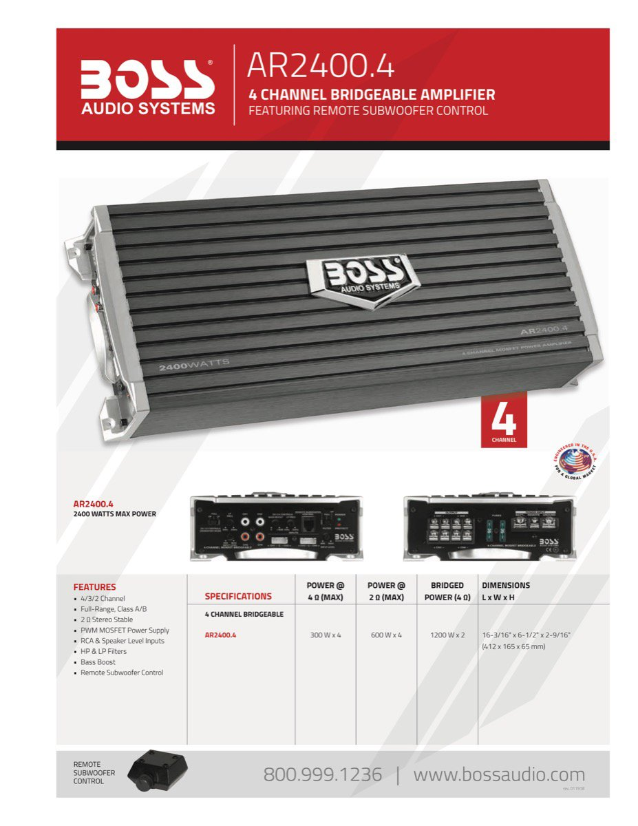 Class A//B 2-8 Ohm Stable 4 Channel Amplifier with Remote Subwoofer Level Control BOSS AUDIO AR2400.4 Armor 2400-Watt Full Range