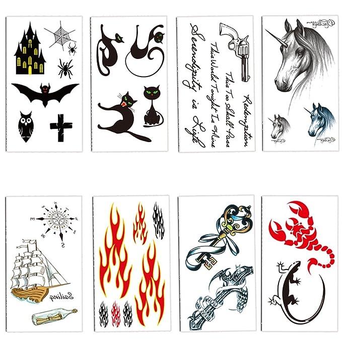 TAFLY niños tatuajes temporales para niños, diseño de gato, araña ...