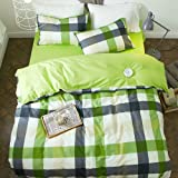 PURE ERA Plaid Yarn-Dyed Cotton Bedding Sets - Quilt/Duvet Cover with 2 Pillow Shams, Soft, Comfort, Colorful, Greenyellow, Full/Queen