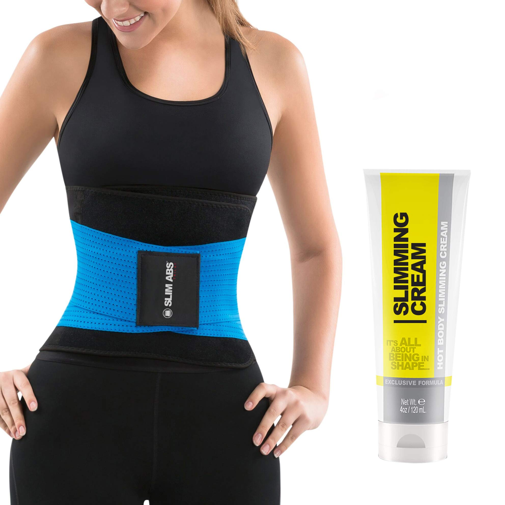 Slim Abs Waist Trainer Sweat Belt with Slimming Cream - Waist Trimmer for Women and Thermogenic Workout Gel (Blue, S/M)
