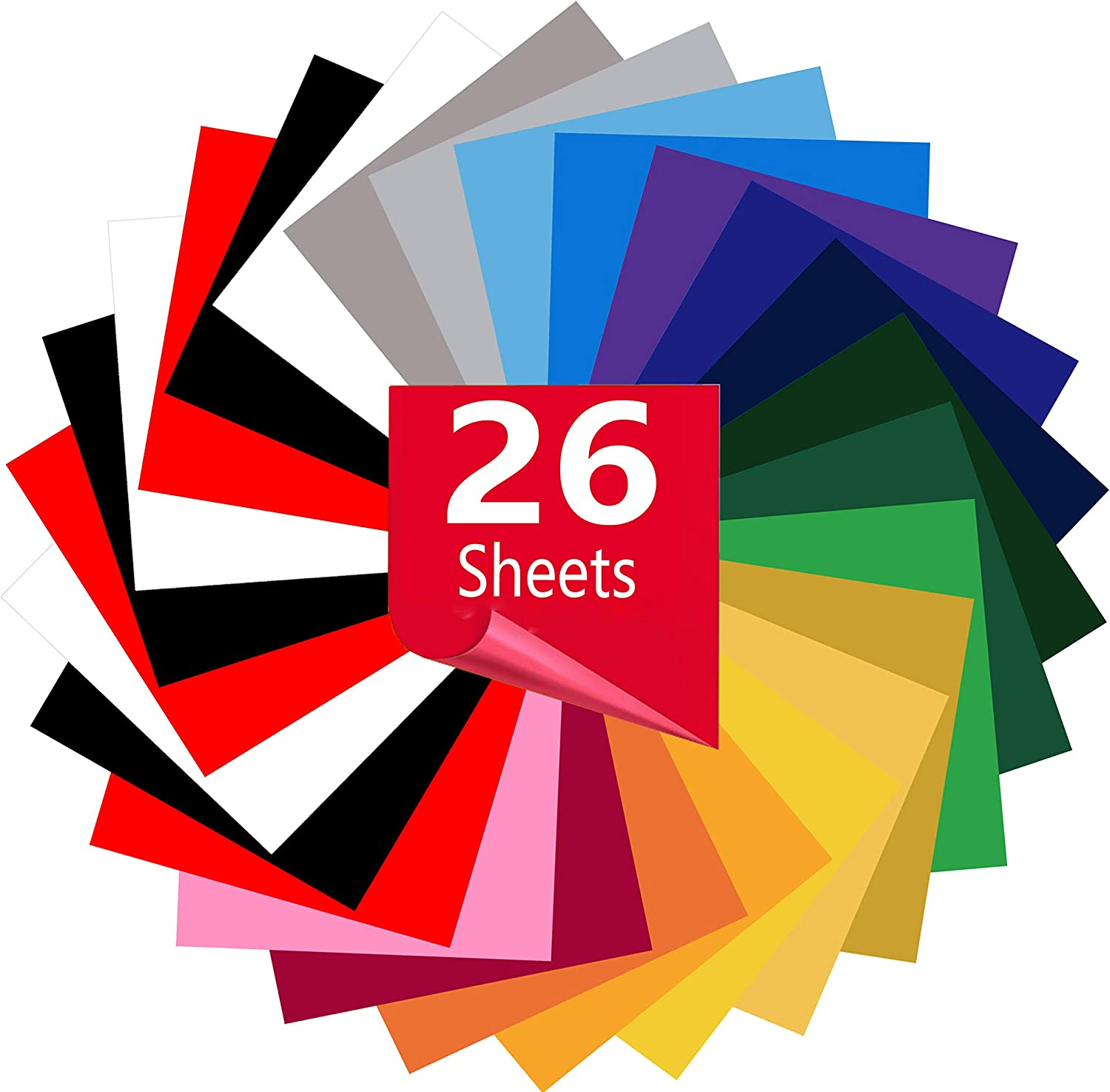 26 Sheets-Iron On Vinyl HTV Bundle Heat Transfer Vinyl for T-Shirts 12in.x10in