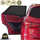 [2 Pack] Car Window Shade, PEMOTech Universal Car Rear Side Window Sun Shade for Baby Kids Pets Provide Maximum UV Protection Mesh Material Car Door Sun Shades