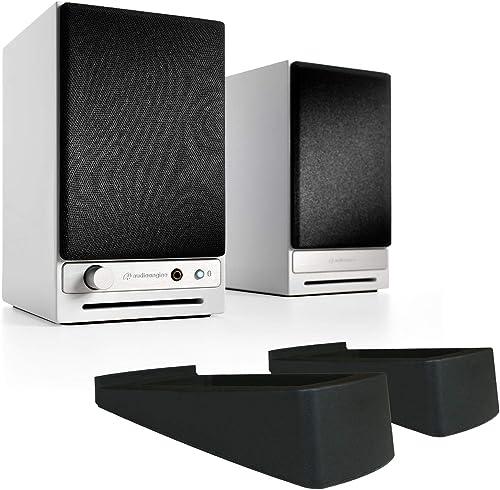 Audioengine HD3 Powered Bookshelf Speaker Bundle with DS1 Desktop Stands – Pair White