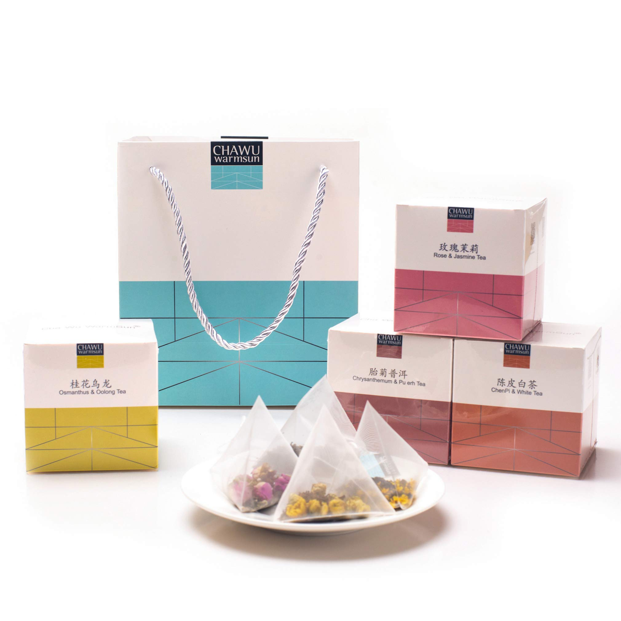 Cha Wu-4 Flavor Combination Gift Bag,32 Tea bags,A Month's Tea Gift,8 Count/Boxs(Pack of 4)