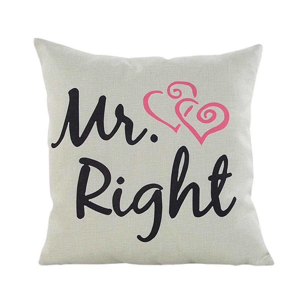 Mome Decorative Pillowcases Cushion Core/Pillow Core/Seat Cushion Core for Happy Valentine's Day/You're My Mr Right (A)