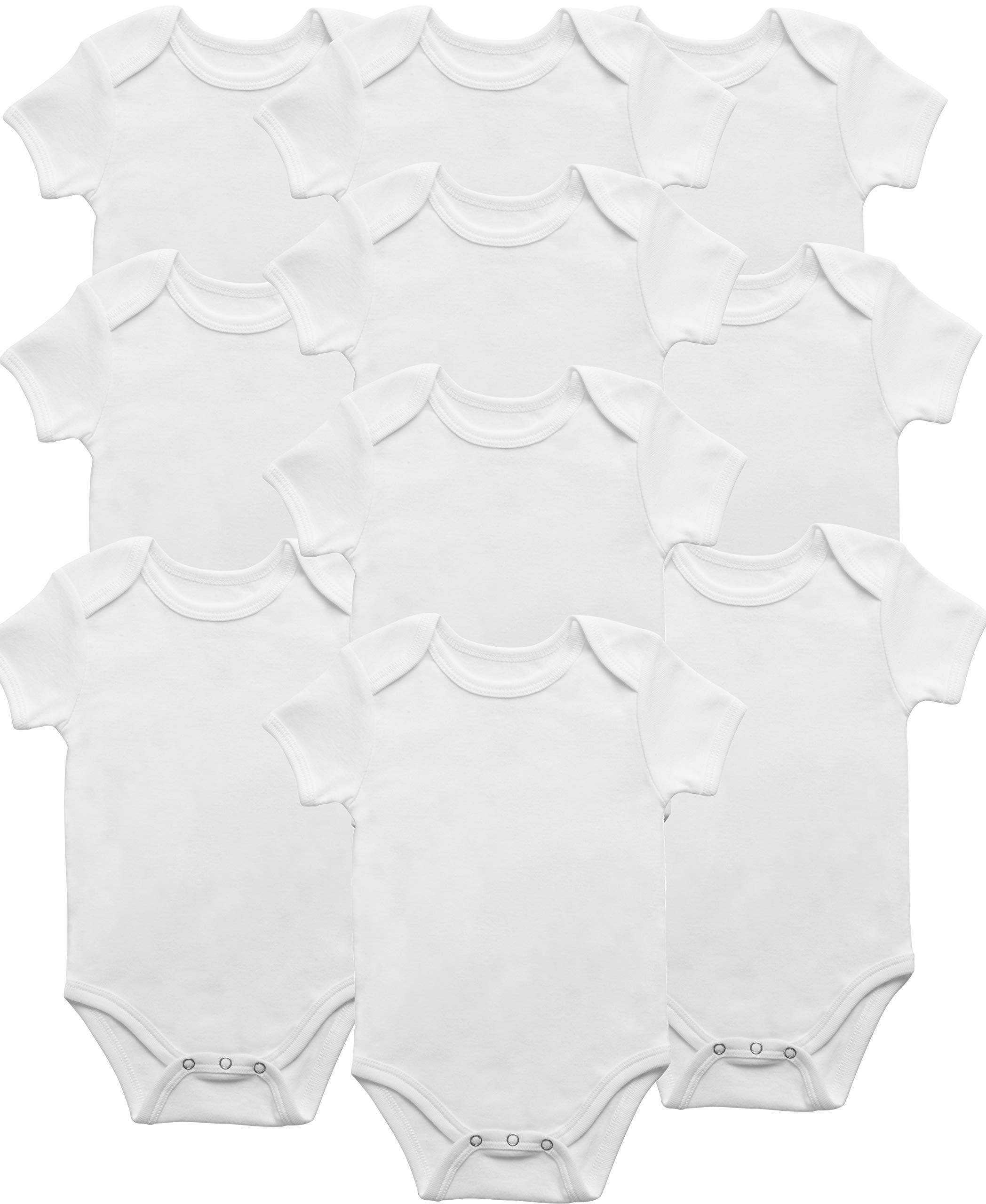 Soft Organic Cotton Baby Onesie One Piece 3 Snap Bodysuit 10 Pack Hypoallergenic & Made a Mother & Nurse Love