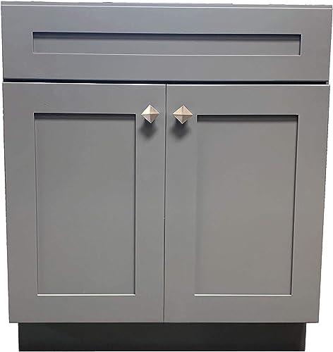 24 Wide x 21 Deep New Grey Shaker Single-Sink Bathroom Vanity Base Cabinet GS-V2421