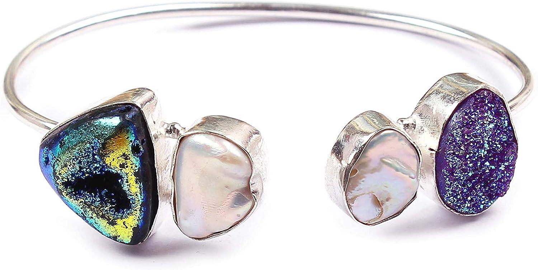 Neerupam Collection Natural Multicolor Perla druzy Piedras Preciosas Plateado Pulsera Hecha a Mano joyería de Moda para Mujeres (BRS-21)