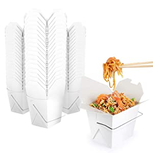 Takeout Food Containers with Handle 8 Oz White Microwaveable Mini Chinese Take Out Box (50 Pack) Leak and Grease Resistant Stackable to Go Boxes - Recyclable Food Containers - Party Favor Boxes