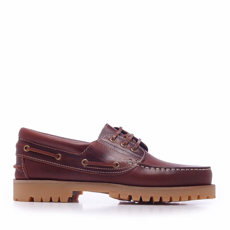 Castellanísimos C01104 Zapatos Náuticos Hombre Piel Con Cordones Color Marron 45 EU|Marrón