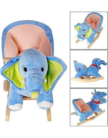 YAOBLUESEA Caballito Balancin Animal Mecedora Silla Mecedora de Juguete para niños con Sonido, Elefante Azul