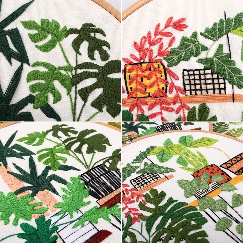 kit de iniciaci/ón con patrones e instrucciones que incluyen bordado con flores bastidor de bordado hilos de color y otras herramientas para principiantes. LAJIOJIO 3 juegos de bordado hechos a mano