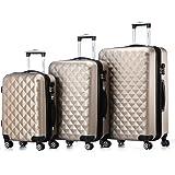 Zwilling Juego de maletines con ruedas 2066, rígidas, de viaje, en 12 colores, champán, Set de 3