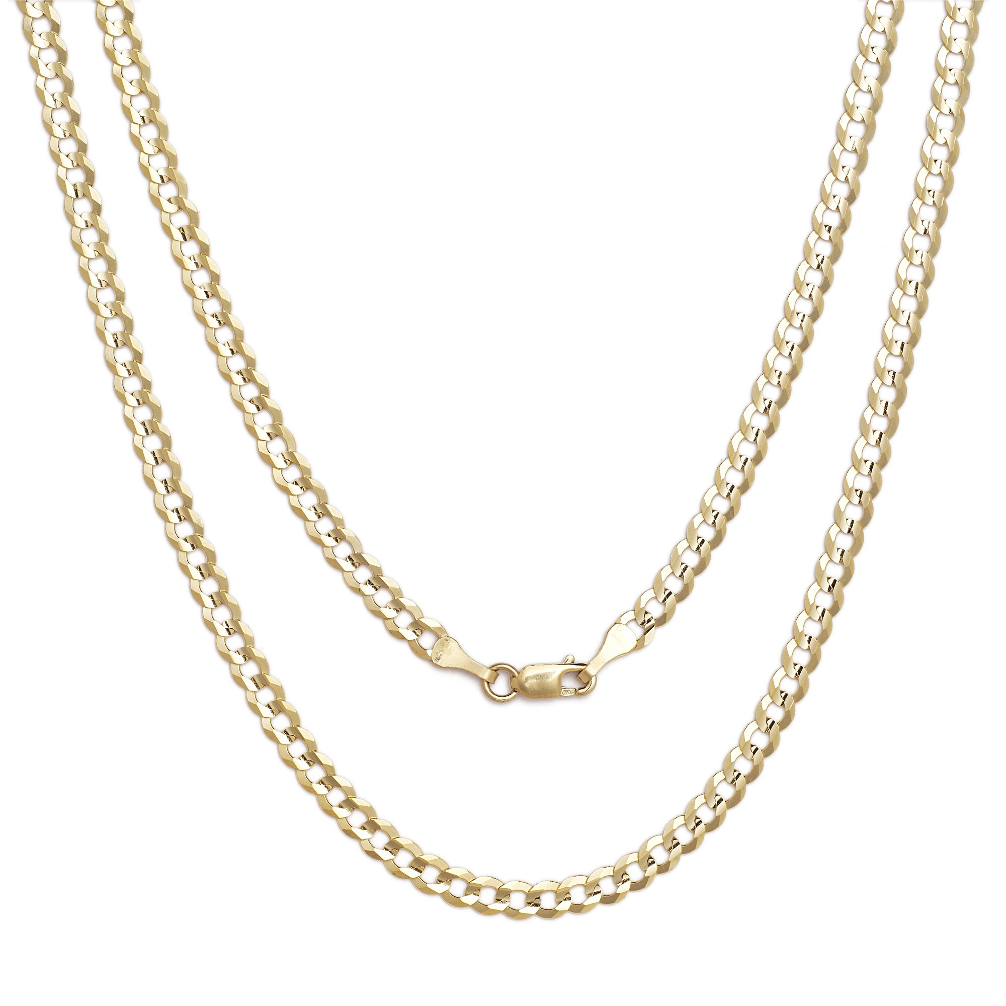 24 Inch 10k Yellow Gold Curb Cuban Chain Necklace for Men and Women, 0.16 Inch (4mm)