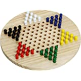 Win SPORTS Wooden Chinese Checkers Board Game,Classic Strategy Game & Fun for The Whole Family - Includes 60 Wooden Pegs…