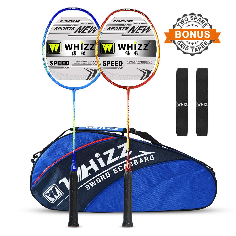 WHIZZ 2 PCS 100% Graphite Badminton Racket Set, Frame/String Protection Design, Large Badminton Bag / 2 Grip Tapes Included (Red/Blue)