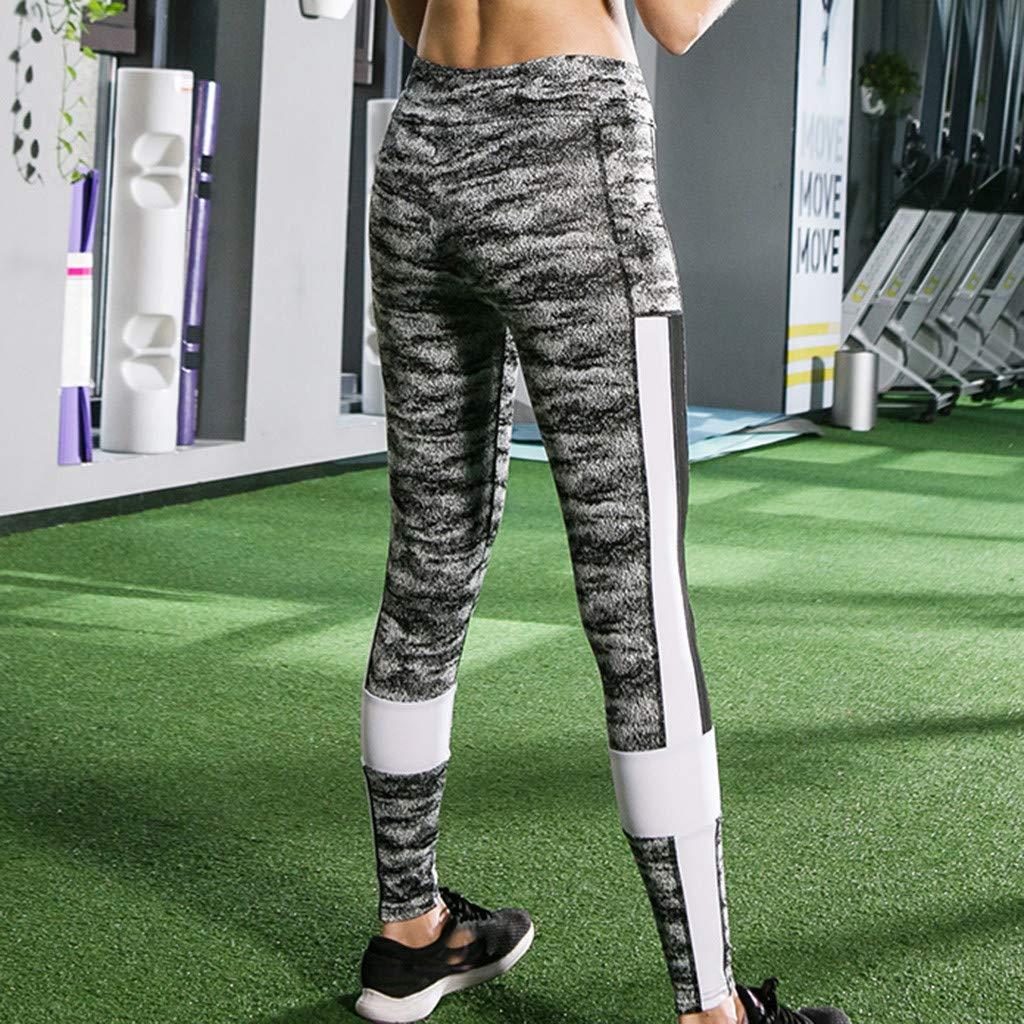 Pantalones Mujer Verano 2019 Largos Ajustadas Patchwork Yoga Deportes Pantalones Y Caderas Hilo Cintura Alta