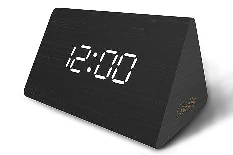 Moderne triangle bois led en bois alarme numérique horloge de bureau