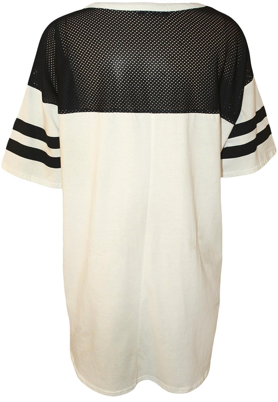 PaperMoon - Damen 'Chicago 87' Druck Kurzarm Netz Lang T-Shirt Baseball Top  - Weiß - 36-38: Amazon.de: Bekleidung