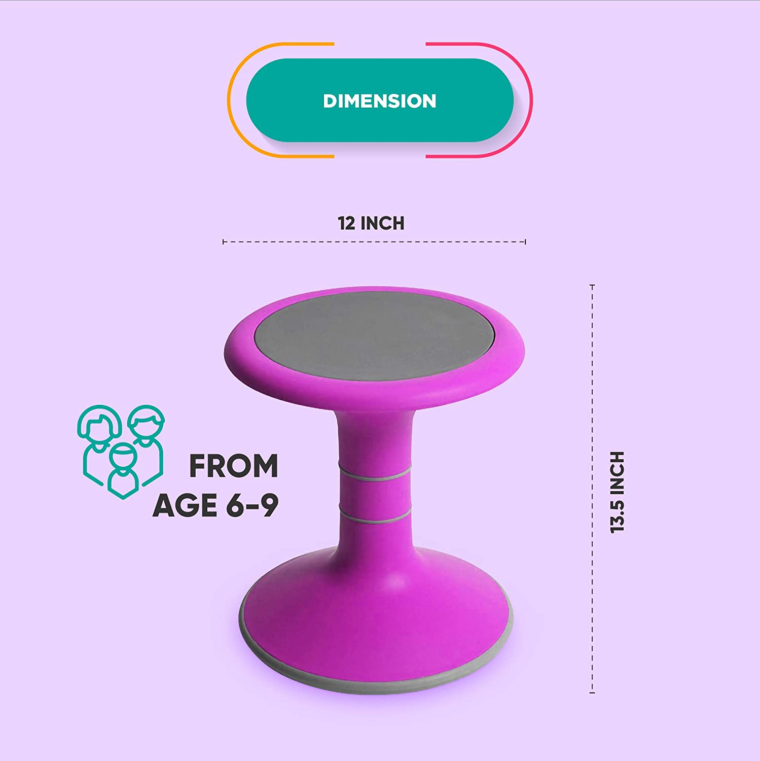Ergonomic Wobble Stool To Encourage Right Posture Active Kid ADHD Fidget Wobbly Seat Wobble Chair For Kids Pink Balance /& Strengthen Core Sensory School Classroom /& Home Chairs