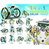 iLoonger 14 in 1 Solar Robot Assembly Rechargeable Kids Toy Kit Educational Gift a Wagging-tail Dog Running Beetle Walking Crab Surfer Speedster Zombie Chaser