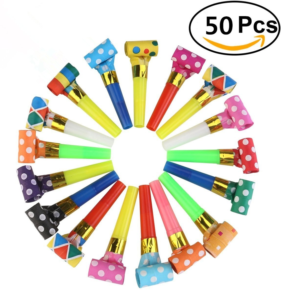 50 Packs music Blowouts Whistles Toys for Birthday Party Favors, Christmas Party, Children Party, Halloween,Party Accessory, New Years Party Noisemakers by Chapter Seven