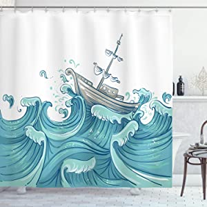 "Ambesonne Nautical Shower Curtain, Ship Being Tossed by Giant Ocean Waves Aquatic Old Vessel Sea Journey Illustration, Cloth Fabric Bathroom Decor Set with Hooks, 75"" Long, Aqua Taupe"