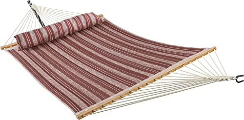 ELC Quilted Fabric Hammock 11 Feet, Outdoor Double Hammocks with Bamboo Spreader Bars, a Pillow and 2 Chains, Perfect for Patio Backyard, Red Stripes