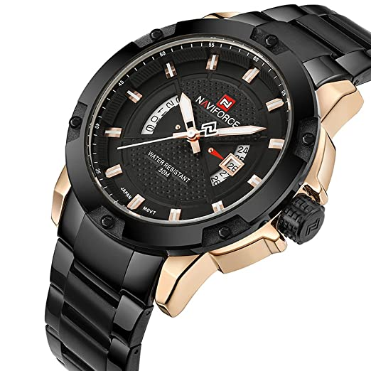 Naviforce Fashion Watches Men Luxury Brand Stainless Steel Date Sports  Clock Military Men s Quartz Watch Business Watch (Black)  Amazon.co.uk   Watches 979f154e6451