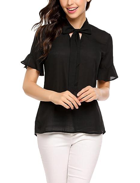 a75e93b47860a3 Women Casual Chiffon Ladies V-Neck Elbow Sleeve Ruffle Blouse Tops Black/S