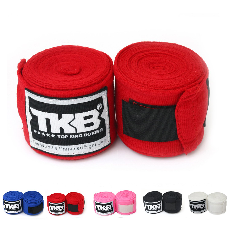 Top KingコットンHandwraps Hand Wrapsカラーブラックブルーレッドホワイトピンクタイのタイ式、ボクシング、キックボクシング、MMA B00LN0C9D2 レッド