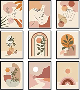 9 Pieces Abstract Wall Art Minimalist Wall Art Prints Minimalist Boho Wall Art Abstract Line Art Woman Botanical Plant Painting Abstract Wall Decor for Living Room Bedroom Kitchen Office, Unframed