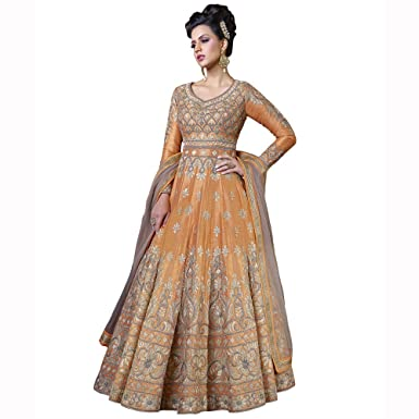 bd9091f8e5b Chhabra bros Orange Art Silk Indian Women s Designer Party Wear Anarkali  Salwar Kameez Dupatta Suit Dress Material Semi-Stitched SWA5206   Amazon.co.uk  ...