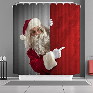 VANCAR Waterproof Bathroom Decor Custom Xmas Merry Christmas Shower Curtain Sets With Hooks 66quotX72quot