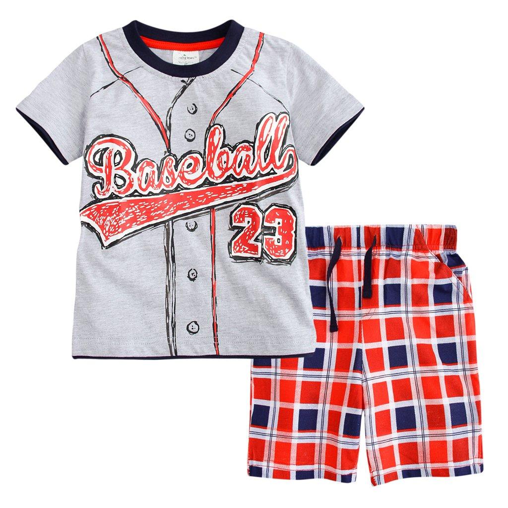 Meeyou Little Boys' Cotton Short Sleeve T-Shirt & Plaid Shorts Set(4T,Baseball Guy)