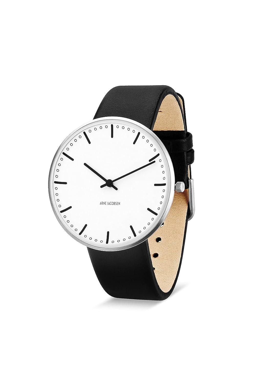 Arne Jacobsen Unisex-Armbanduhr - Quarzuhr - mit weißem analogem Zifferblatt - schwarzes Lederband 53202