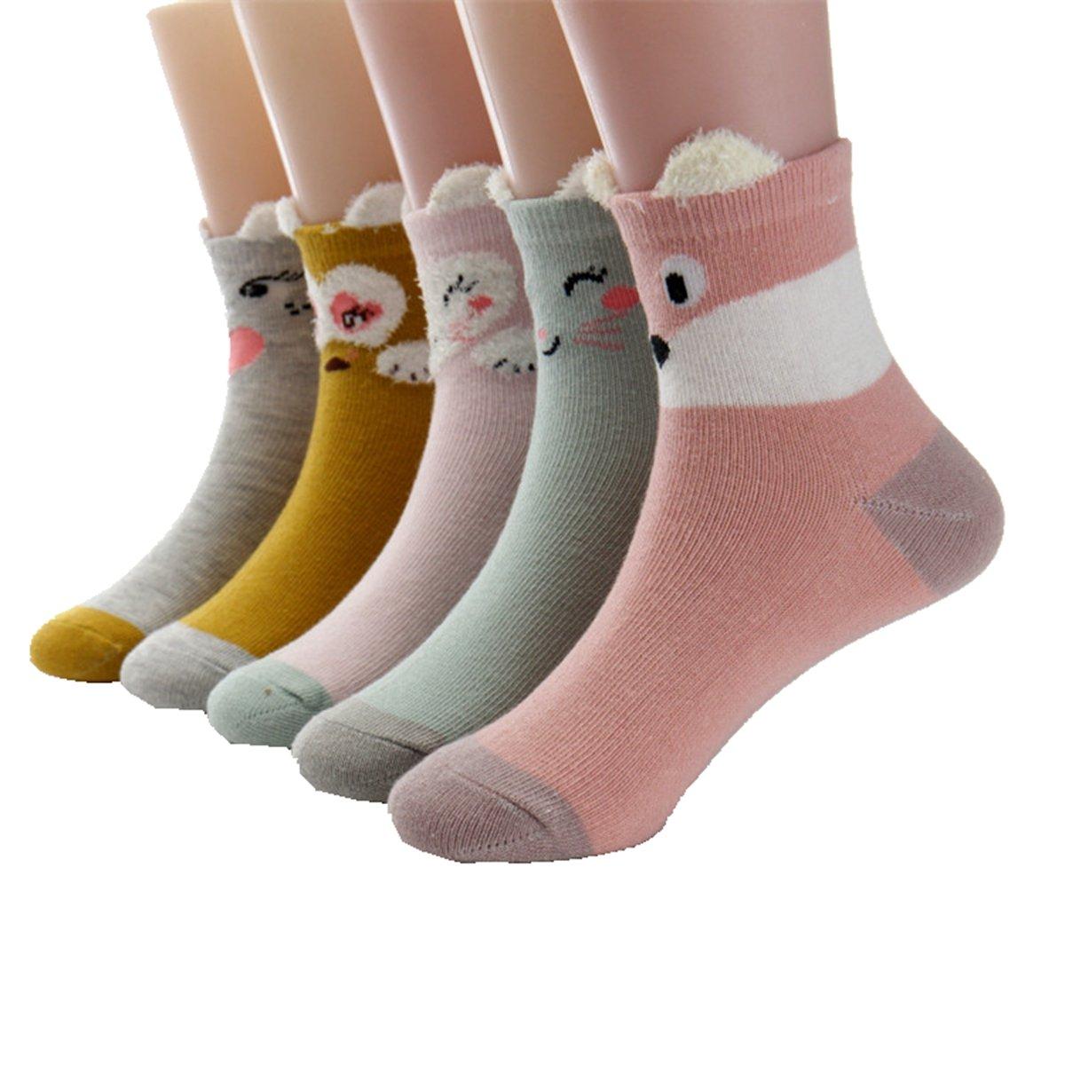 Little Girls Socks Cotton Animals Comfort Thick Socks 5 Pair Pack Cczmfeas