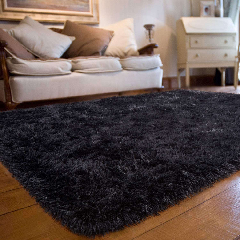 Amazon Com Joyfeel Soft Bedroom Rug 5 X8 Black Large Shaggy Fur Floor Area Rugs Non Slip Comfy Living Room Carpets Fluffy Indoor Plush Rectangle Accent Rugs For Dorm Home Decor Nursery Kids Room