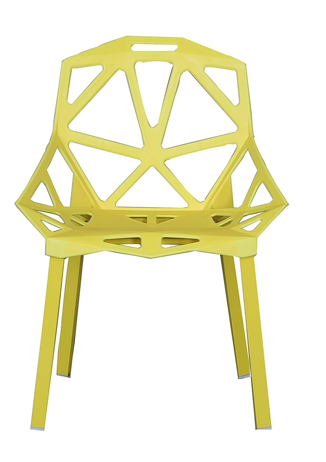 Amazon.com: Modern Set of 2 Hollow-Out Geometric Style Chair (Yellow ...