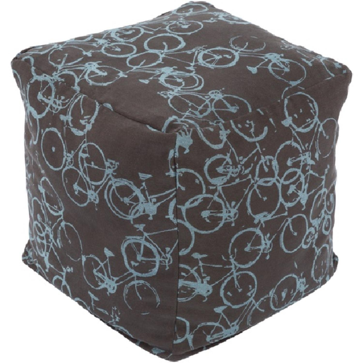 18'' Peddle Power Black and Sky Blue Whimsical Square Pouf Ottoman