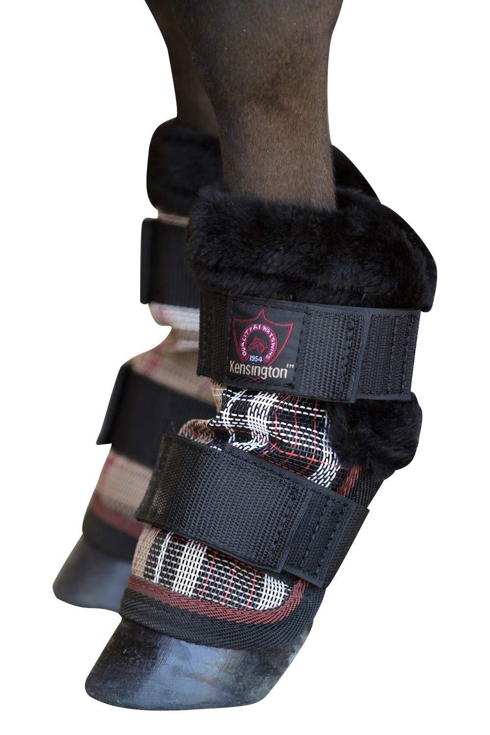 Kensington Pony Fly Boots with Comfortable Fleece Trim Protection from Insect Bites and UV Rays, Deluxe Black Plaid (Set of 4)