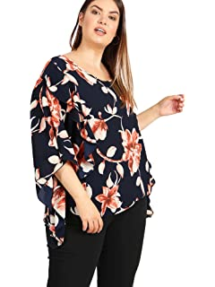 603ad3c48f5 Lovedrobe GB Women s Navy Blue Floral Print Batwing Top with Frill Detail Plus  Sizes 16-