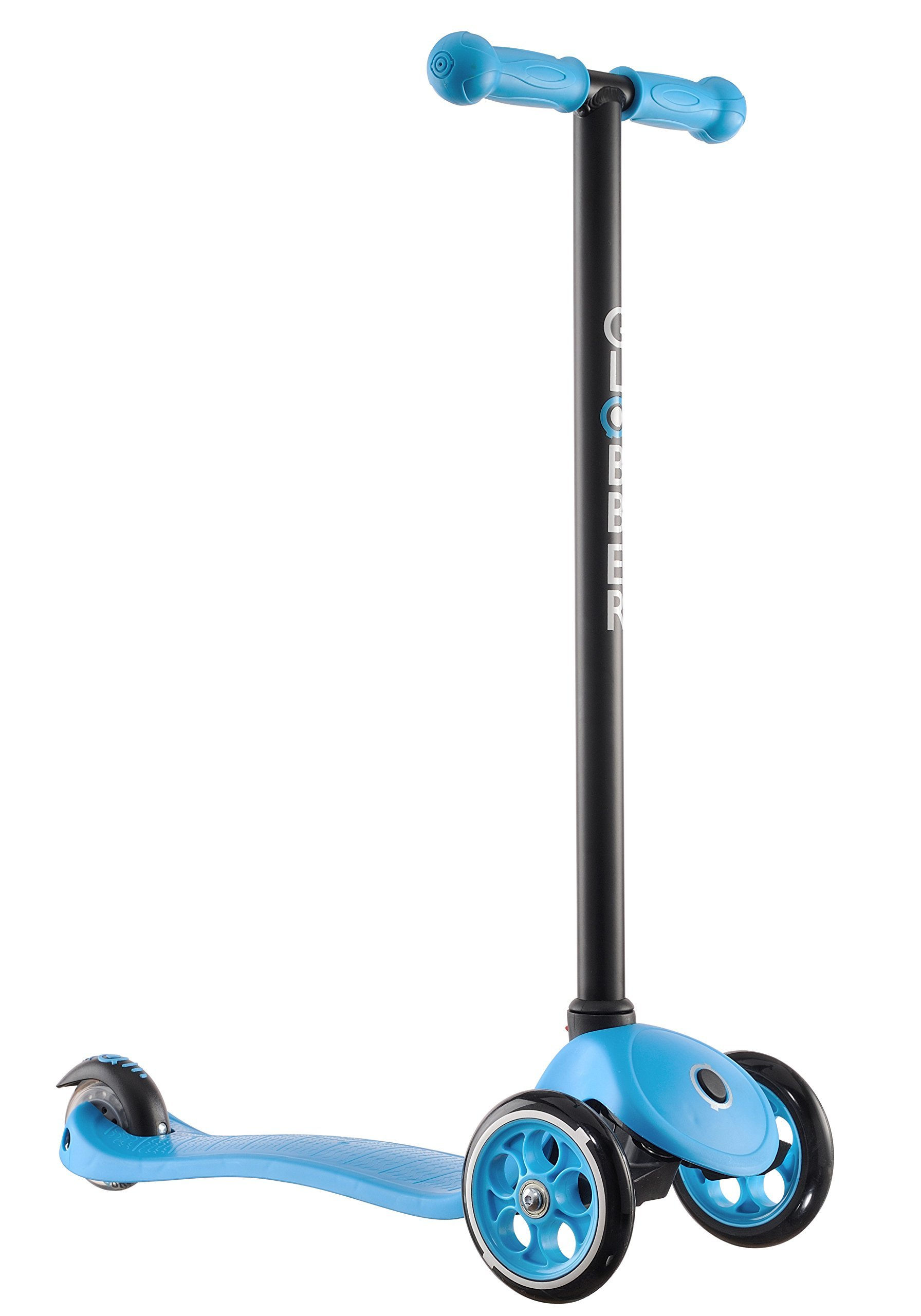 Globber 3 Wheel Kick Scooter with Patented Steering Lock and Optional LED Light Up Wheels (Blue/Black)