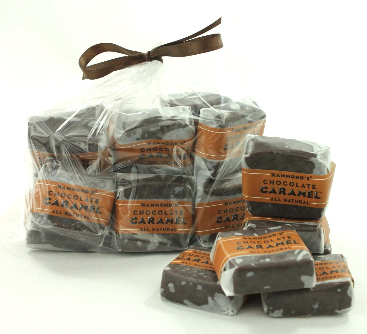 16 Pieces Chocolate Caramels, Wrapped, 12 Ounce Bag, Hammonds Candy, Hand Made