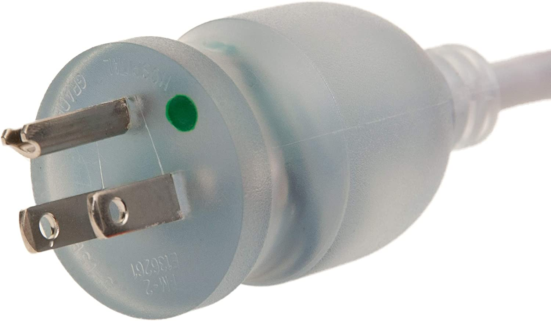 Green Dot 15 Amp // 125 Volt Nema 5-15 to C13 14 AWG Power Cord SJT 2 Pack GOWOS Hospital Grade 10 Feet
