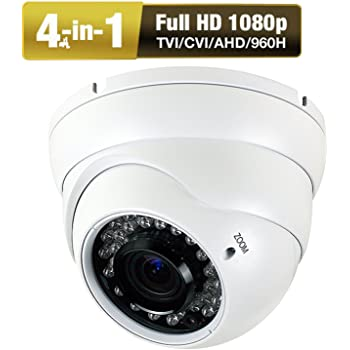 1080P Dome Security Camera HD 4-In-1 CCTV Camera 2.8mm-12mm Varifocal Lens 100ft IR Day/Night Monitoring IP66 ,Compatible with 1080P-AHD/CVI/TVI&CVBS DVR ...