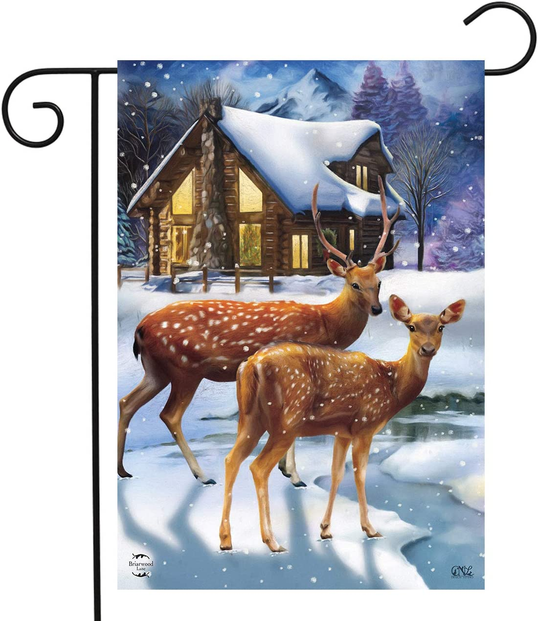 Briarwood Lane Winter Cabin Deer Garden Flag Snowy Scene 12.5