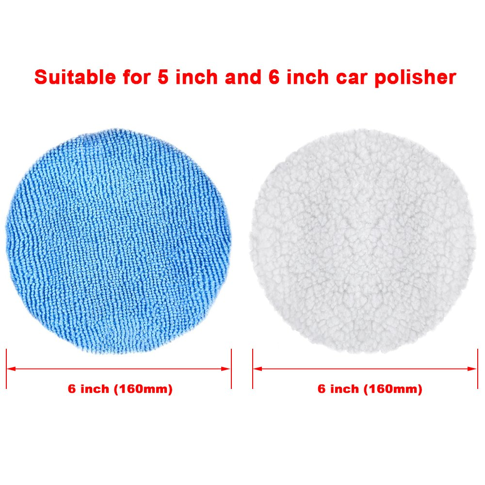 SIQUK 12 Packs Car Polisher Pad Bonnet Set (5 to 6 Inches) including 10 Packs Microfiber Car Polishing Bonnet and 2 Packs Waxing Bonnet for Car Polisher by SIQUK (Image #3)