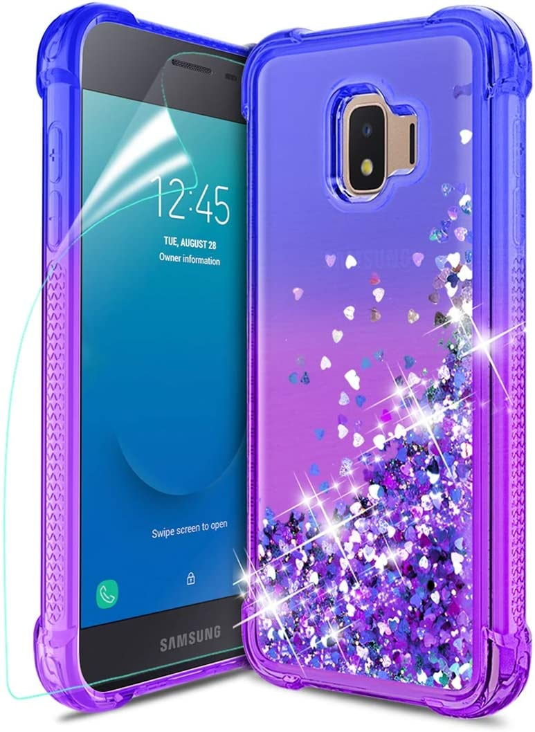 Tmacker Samsung Galaxy J2 2019 Case,Galaxy J2 Pure/J2 Core/J2 Shine/J2 Dash/J260 Phone Case w/HD Screen Protector,TPU Glitter Quicksand Shockproof Protective Phone Cover for Girls Women-Blue/Purple