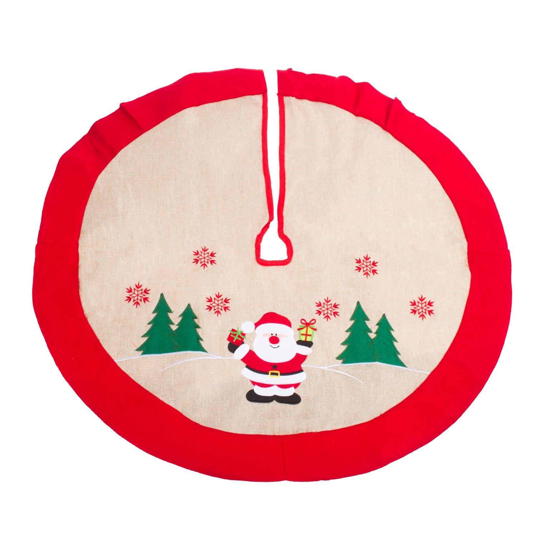 36 Country Xmas Tree Decor Skirts Rustic Burlap Christmas Tree Skirt Happy Santa